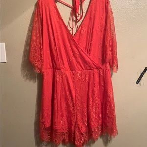 Orange / Coral  lace surplice romper